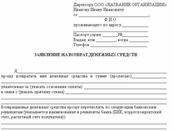 Текст заявления в банк на возврат денежных средств