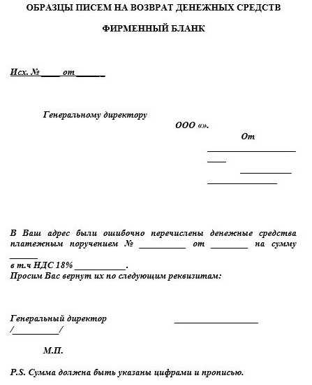 Письмо о возврате предоплаты за непоставленный товар